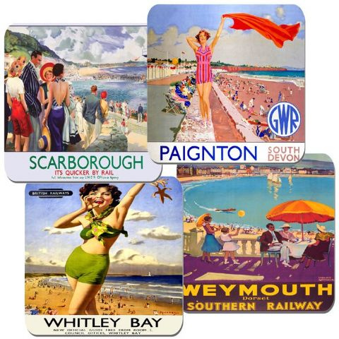 Vintage British Seaside Railway Poster Train Coasters Set Of 4 High Quality Cork #2